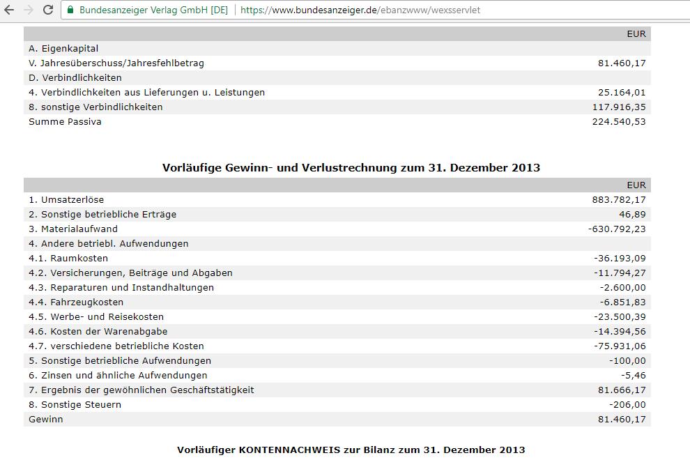 Deutsches Edelmetallhaus GmbH Bilanz (Quelle: Bundesanzeiger.de)